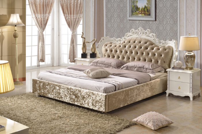 bedroom furniture king size fabric bed brown color made in China-PRF2802(China (Mainland))
