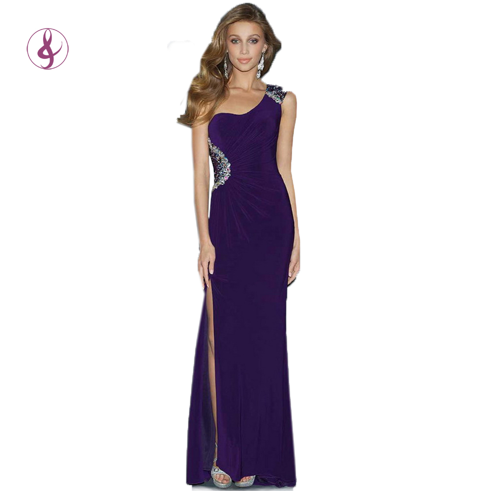 LA001 Elegant evening dresses with stones plus size prom dress vestidos de festa open leg side one shoulder purple gown(China (Mainland))