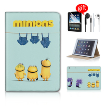 Cute Minions Jeans Stand Magnetic Function Tablet Case Skinfor Ipad Mini 1 2 3 Case Ipad Mini Case Leather Free Earphone(China (Mainland))
