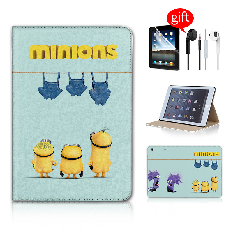 Cute Minions Jeans Stand Magnetic Function Tablet Case For Ipad Mini 2 Case For Ipad Mini Case Leather Free Earphone<br><br>Aliexpress