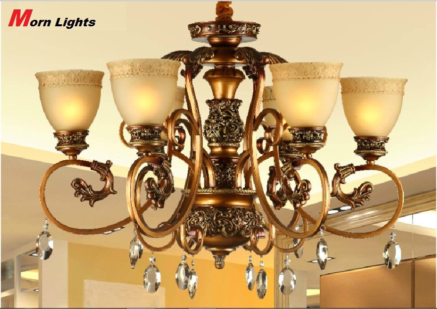 Antique Bronze chandelier Lighting carved Modern chandelier light 6 Arm crystal chandelier light Living Room chandelier light(China (Mainland))
