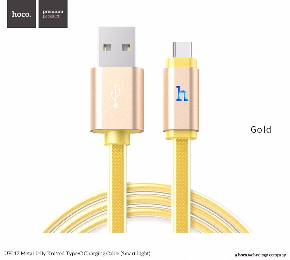 ORIGINAL HOCO UPL12 Metal Jelly Knitted Type-C Smart Light USB Charging Data cable for Samsung LG Sony HTC Xiaomi 1.2m 2.4A
