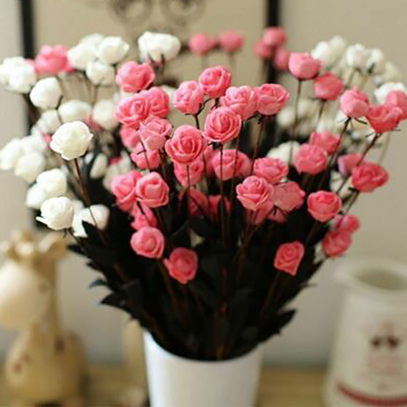 HIGHT Quality silk European 7pcs/lot Little rose Artificial Flowers Fall Vivid Fake Leaf Wedding Home Party Decoration(China (Mainland))