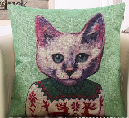 Cartoon dress cat cushion covers brown pillow case couch purple throw pillow blue vintage home decor