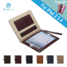 Luxury PU Leather Case for iPad 2 3 4 Retro Briefcase Auto Wake Up Sleep Hand Belt Holder Stand Bags Cover for iPad2 iPad3 iPad4(China (Mainland))
