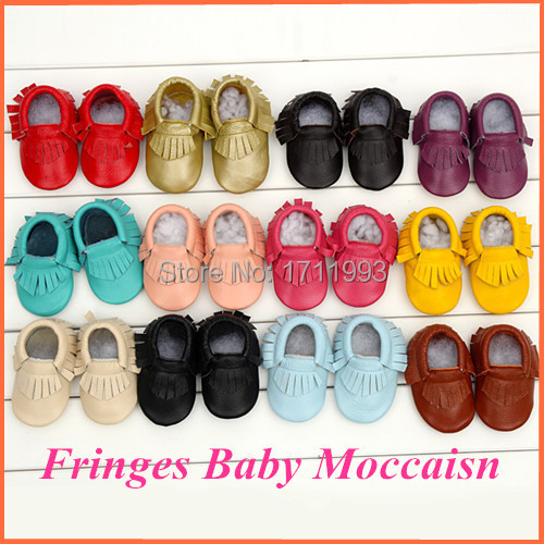 1 Pair Send Leather baby Moccasins Tassels Shoes Girls Boys Chaussure First Walkers Toddler Moccs 0-24M Dropshipping(China (Mainland))