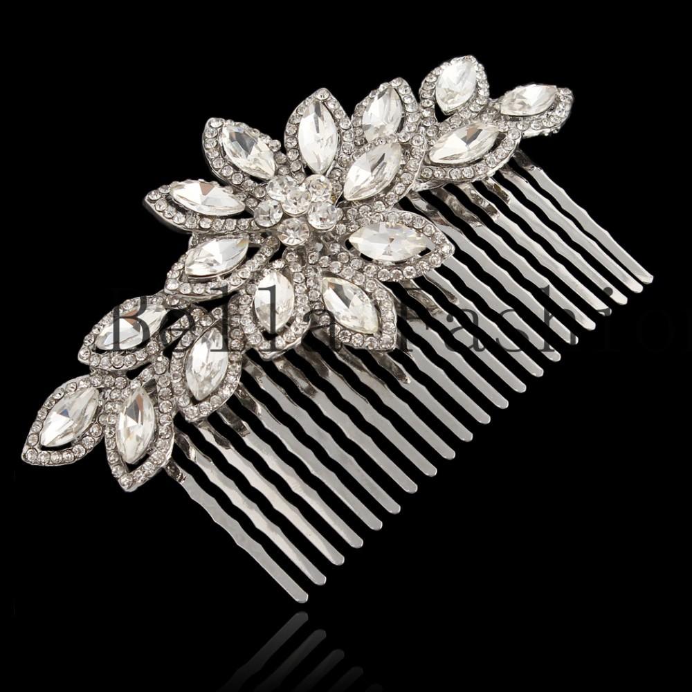 БЕЛЛА Мода Ясно Цветок Австрийский хрусталь Волосы Расческой Свадебные Аксессуары Горный Хрусталь Украшения для Свадебных Женщин