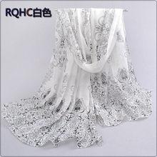 1PC Designer l* scarves Porcelain printed soft chiffon velvet Silk scarves for Girl 60*150cm P7A16012(China (Mainland))