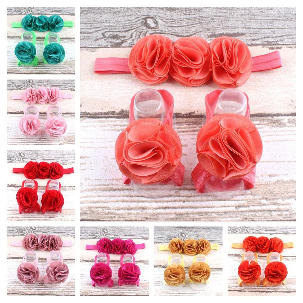 Baby Barefoot Sandals and Headbands Sets Flower Headbands for Kid Girl Elastic Hair Bands Infant Kids Headbands Cute Headwear(China (Mainland))