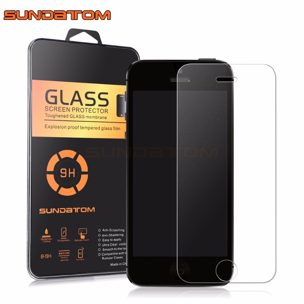 SUNDATOM Tempered Glass Screen Protector iPhone5 iPhone SE 5 5C 5S 5SE Frosted Colorful Film Matte Anti-Glare Round Edge - official store