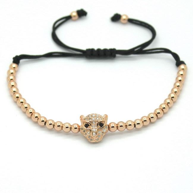 Fashion Men Silver Bracelet 4mm Round Bead Micro Pave Black CZ Evil Eye Connector Braiding Anil