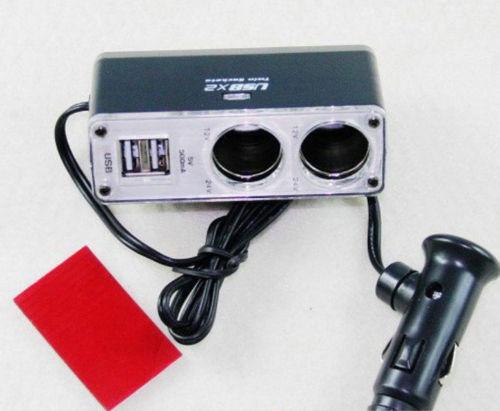 12 В 24 В 2 USB порта зарядное устройство 2 разъём(ов) автомобильной автомобильное зарядное устройство адаптер разветвитель