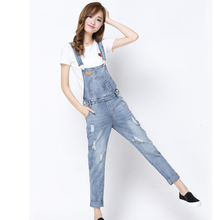 2016 Spring Autumn Casual Ripped Hole Loose Pants Ripped Pockets Jeans Overalls Washed Casual Hole Jumpsuits Romper Jeans Denim