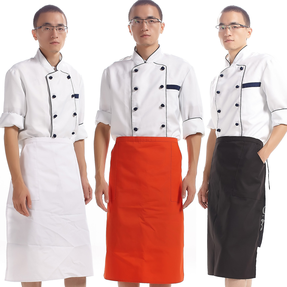 Seven lotus new cook small canvas half length apron adjustable kitchen work apron 20031 thick fabric(China (Mainland))