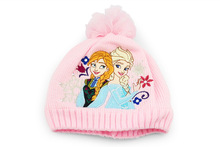 Free Shipping 1Pcs New elsa Hat Baby Cap hats Pink Kids Hats For Winter Cosplay In
