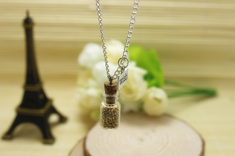 12pcs glass bottle necklace Magic Fire Fairy Angel dust pendant wish charm glass bottle vial golden glitter light magic(China (Mainland))