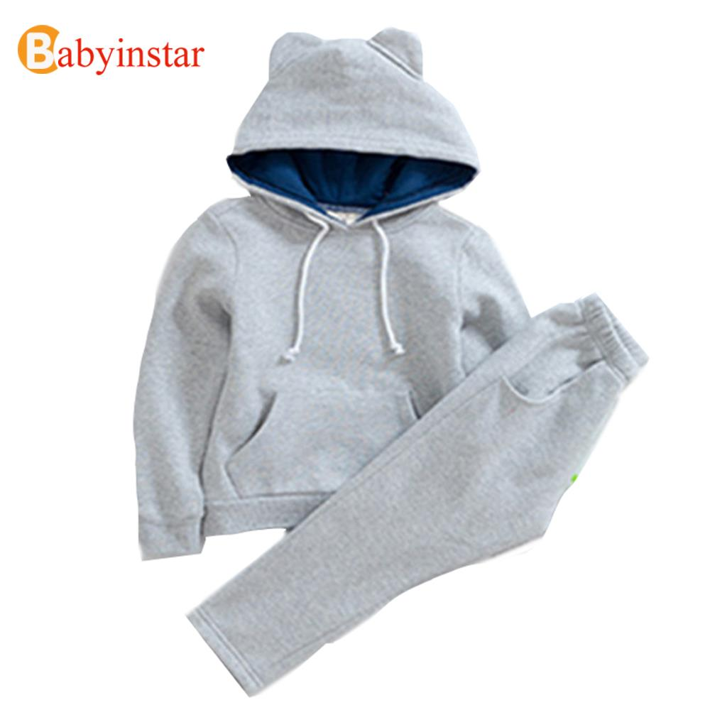 Kids Tracksuits Casual Solid Hooded Sweatshirt + Pants Children Clothing Sports Suit 2016 Girl Apparel Boys Clothing Sets(China (Mainland))