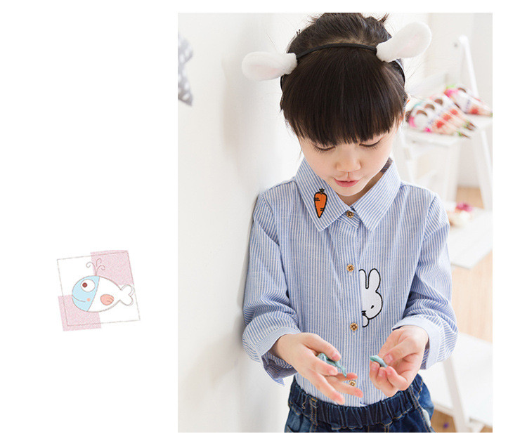 2016 new fashion children's clothing girls kids shirts striped long-sleeved shirt children cartoon bunny TJ0004