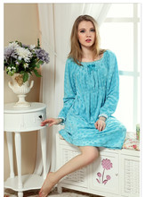2015 new Spring soft coral fleece winter pajamas nightgown women's large size lengthen long-sleeved princess Nightdress gv726(China (Mainland))