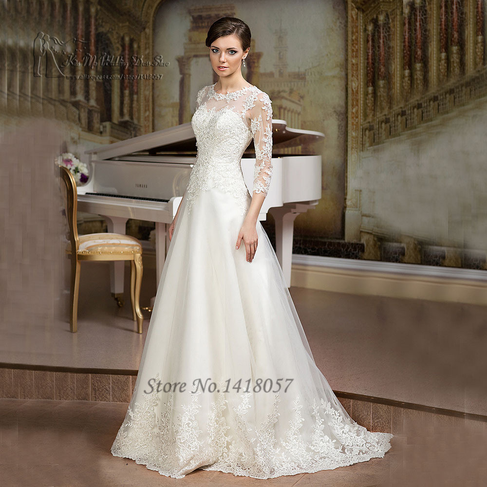 Aliexpress.com : Buy Gelinlik Ivory A Line Wedding Dress