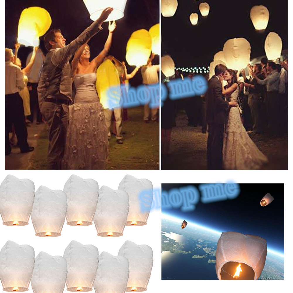 10pcs White Paper Chinese Lanterns paper Fire Sky Flying Paper Candle Wish Lamp for Birthday Wish Party Wedding Decoration ideas(China (Mainland))