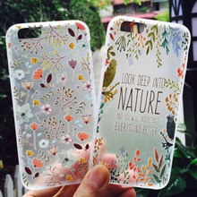 2016 Fashion summer cool flower bird leaf nature scrub case Capa Para Fundas cover For Iphone6 6s/6plus 6splus free shipping