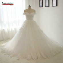 Off the shoulder ball gown wedding dress new model customer order 2017(China (Mainland))