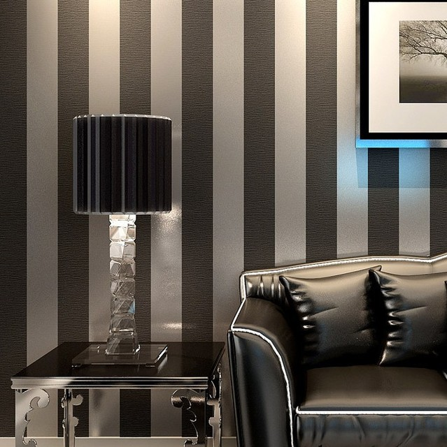 buy modern black wallpaper striped purple and silver