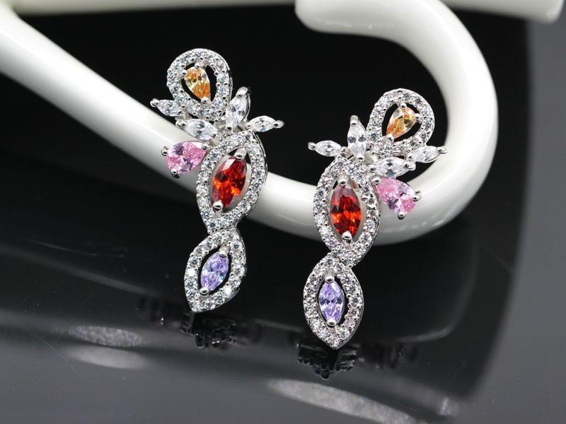 HOT!2015 Fashion Wedding Bridal Jewelry Set 18K GP Multicolor Crystal Sapphire Earring&Necklaces High quality Anniversary Gift