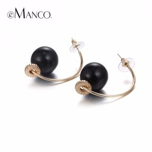 eManco Trendy Minimalist C Shape Pierce Hook Stud Earrings for Women Black Beads Ear Brand Fashion Jewelry(China (Mainland))