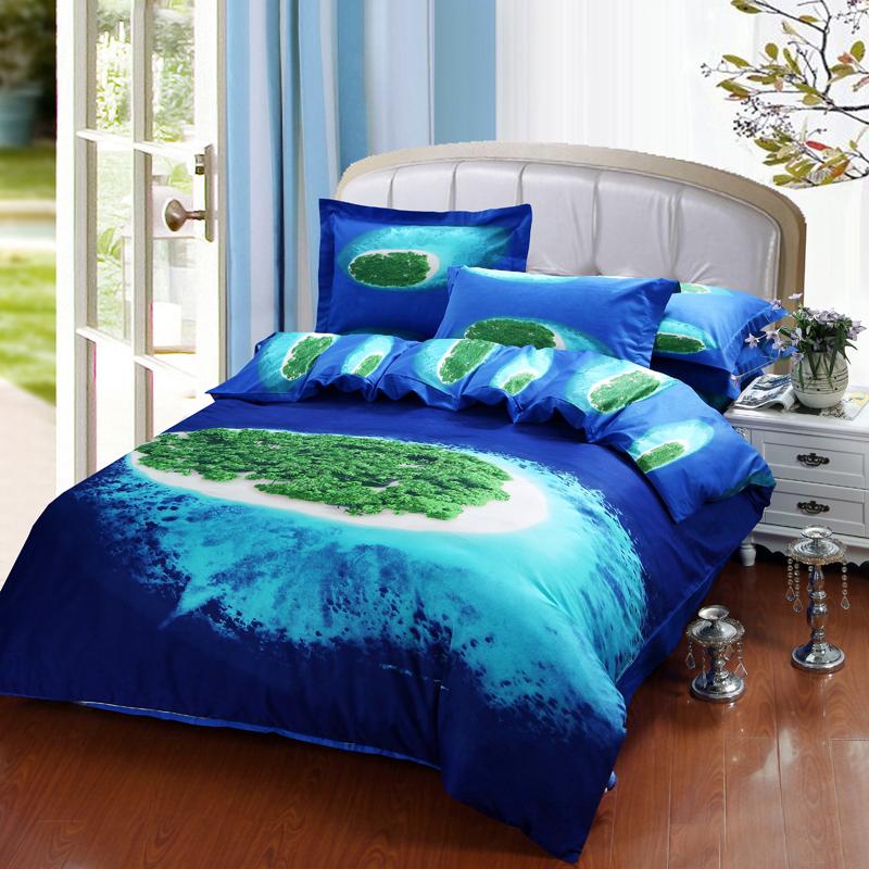 beautiful blue ocean green island 3d bedding set queen size quilt cover bed sheet pillowcase. Black Bedroom Furniture Sets. Home Design Ideas