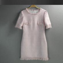 Pink tweed dress 2016 spring / autumn women new advanced custom dress ladies slim thin middle-Sleeve dress(China (Mainland))