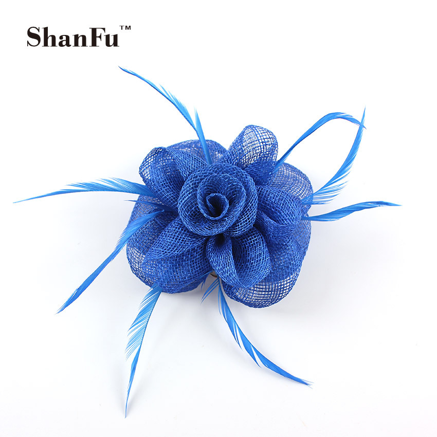 ShanFu Women Small Sinamay Fascinator for Wedding Church Feather Brooch Pin Cocktail Women Hair AccessoriesSFB7030 120pcs/lot(China (Mainland))