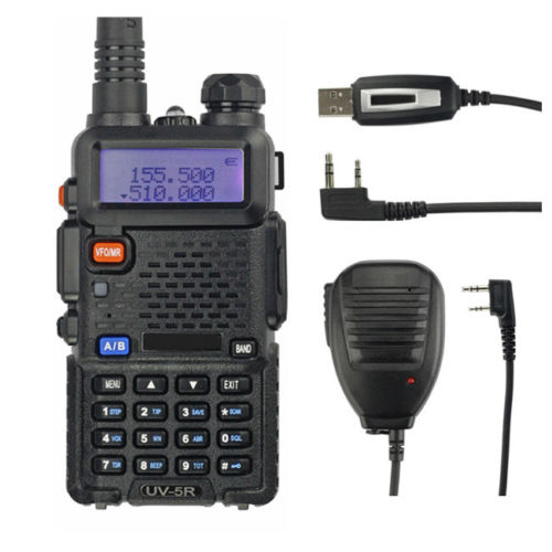 Baofeng UV-5R 136-174/400-520 MHz Walkie Talkie 5W UHF&VHF Dual Band Portable Ham Two-Way Radio + Programming Cable & Speaker(China (Mainland))
