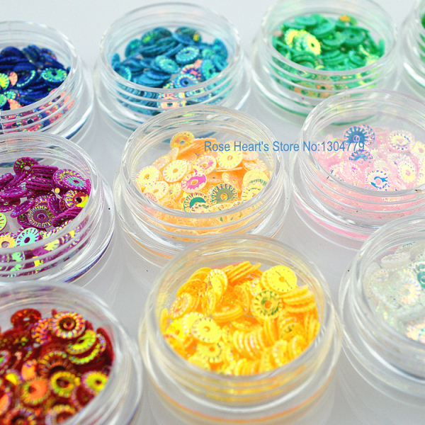 12 Laser Colors 3D Pierced Glitter Nail art Sequins Decals For Nail Tips Decoration Styling Design Tools(China (Mainland))