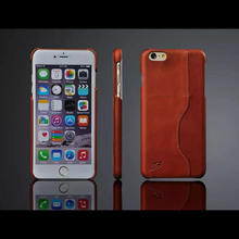 FIERRE SHANN New arrived the first layer cowhide Oil wax lines phone cover case with card slot For iPhone6 Plus 6s Plus case