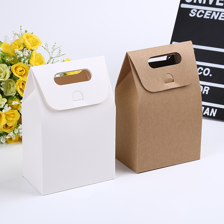 100pcs 10*6*16cm Gift Kraft Box Craft Bag with Handle Soap Candy Bakery Cookie Biscuits Packaging Paper Boxes(China (Mainland))