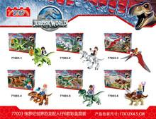 6pcs 77003 building blocks super heroes avengers jurassic parco del mondo omini dinosauro tirannosauri rex mattoni mini figure