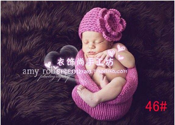 Новорожденный реквизит для фотосъёмки ручной работы шерсть вязка крючком трикотаж ...