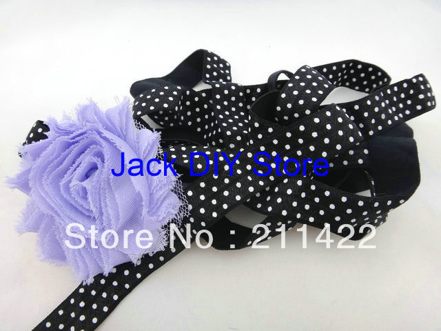 10 Yards Black with White DOt Elastic for Baby Headbands, Elastic By The Yard