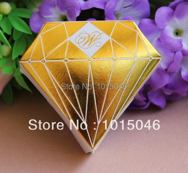 Creative New Arrival Golden Diamond Candy Box Wedding Candy Box Gift ...