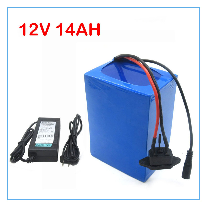 Rechargeable lithium battery 12V 14AH with 12.6V 3A Charger for LED Light /Bicycle battery Scooter battery 180W(China (Mainland))