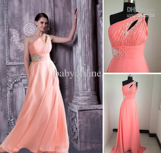 Wholesale - 2012 Sexy One Shoulder Chiffon Evening Dresses Sweetheart Prom Gowns Dress Bridesmaid Dress NM6490