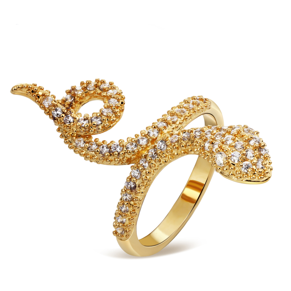 Mansaku Top Quality Clear White CZ 18K Real Gold Plated Women's Rings Cubic Zircon Setting Snake Ring Environmental Material(China (Mainland))