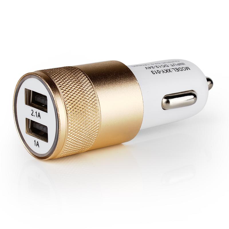 Dual USB Car Charger Universal detector For ipad 2 3 4 5 Aluminum 2-port Mini Adapter 12v 2.1A 1.0A EA10788(China (Mainland))