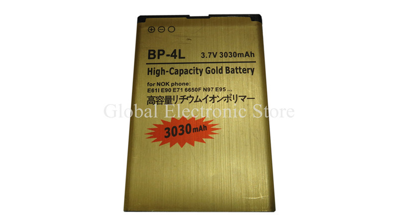 2x OEM Golden 3030mAh Battery BP-4L Cell Phone Accessories Part For Nokia N97 E90i E95 6760 E52 E55 E61 E63 E71 E72 E75 E90 N810(China (Mainland))