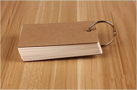 Binder Ring Easy Flip Flash Cards Index Card, 50 Unruled Blank White Pages, 2 Pack (Creamy-White)(China (Mainland))