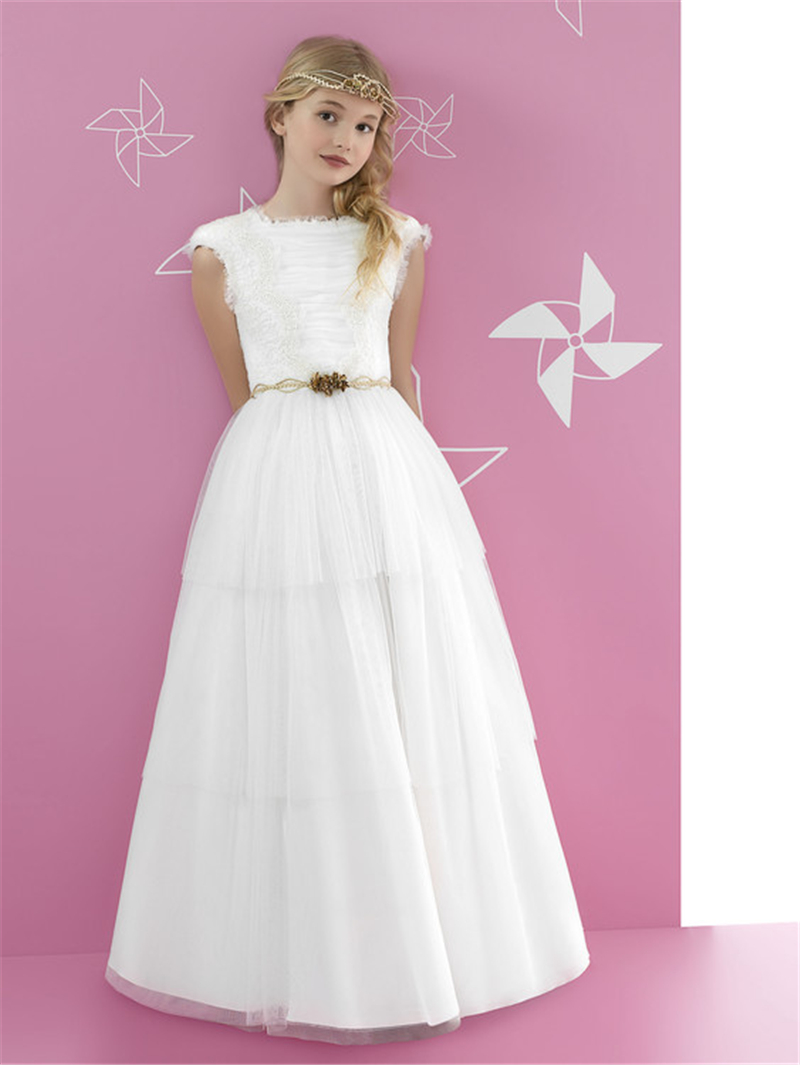 2016 a line crepe first communion dresses for girls halter