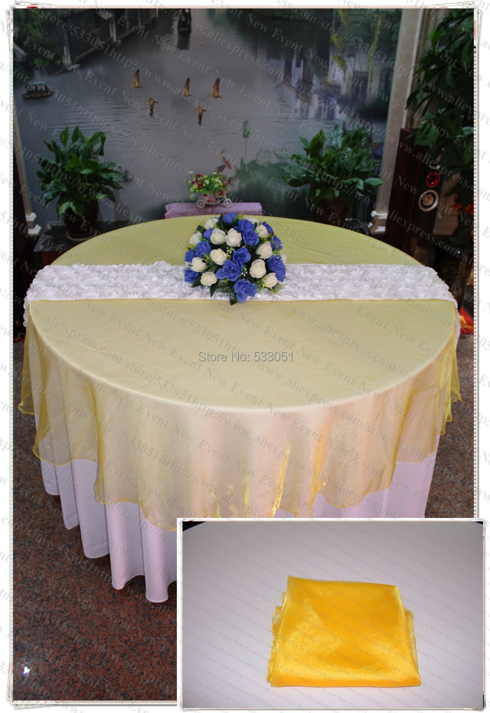 210cm Round NO.64 Orange Yellow Organza Table Overlay/Table Cover/Tablecloth For Wedding Party Home Hotel Banquet Decorations(China (Mainland))