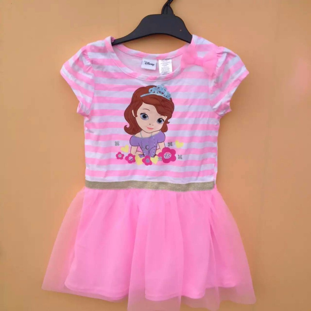Original Brand 6Pieces/lot 2-5 Baby Girl Sofia Princess Dress,Cartoon Dress for Summer,Sofia Dress,Pink Striped Dress <br><br>Aliexpress